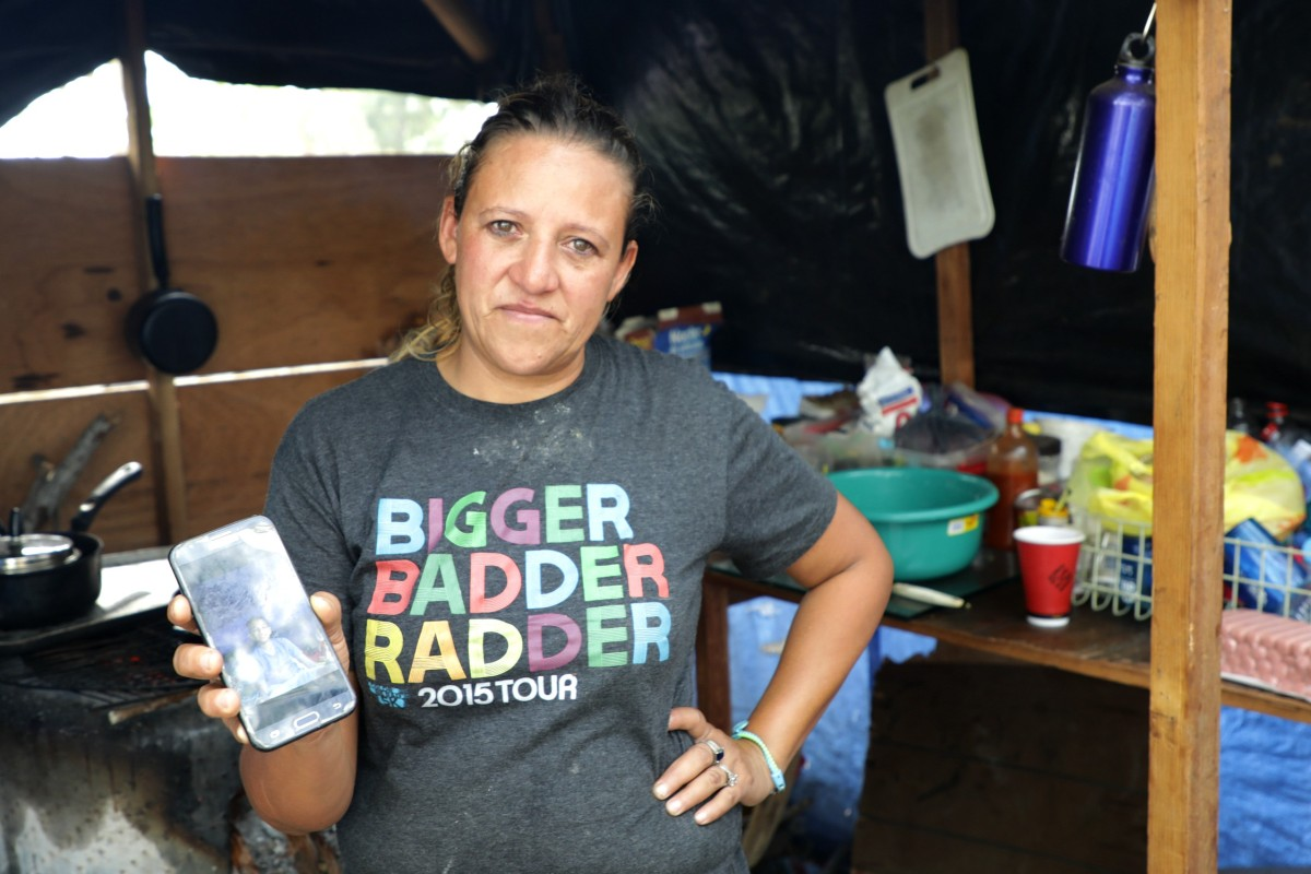 Teresa from Honduras at migrant camp in Matamoros