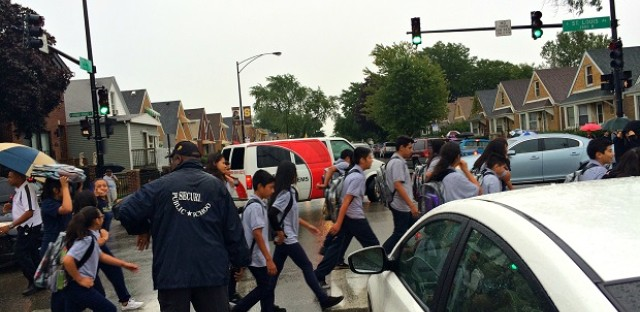 A return to school means snarled traffic in many Chicago neighborhoods, including the area around 55th Street and St. Louis Ave.