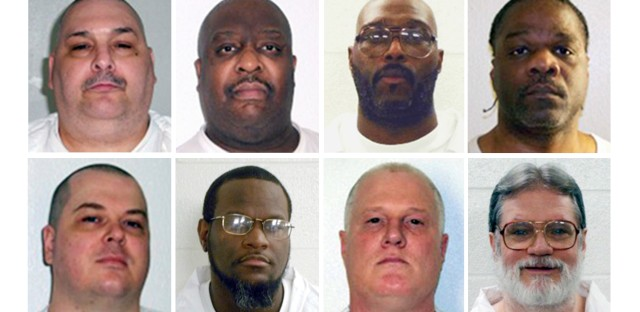 This combination of undated photos provided by the Arkansas Department of Correction shows the death row inmates in question. Top row (from left): Jack Harold Jones Jr., Marcel Williams, Stacey E. Johnson, Ledell Lee. Bottom row (from left): Jason F. McGehee, Kenneth Williams, Don Davis and Bruce Earl Ward. McGehee's execution was blocked by federal judge last week.