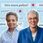 Cut out images of Lori Lightfoot and Toni Preckwinkle against a backdrop of questions