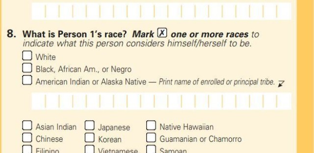 The 2000 census short form asked about race but not citizenship, which the long form that year did ask about.