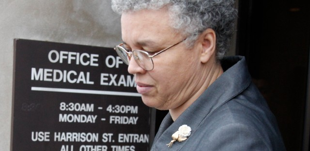 Cook County President Toni Preckwinkle departing the Cook County Medical Examiner's Office in 2012. (AP Photo/M. Spencer Green, File)