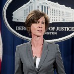 Deputy Attorney General Sally Yates, pictured at an urelated press conference in June 2016, says Department of Justice lawyers won't defend President Trump's executive order as long as she remains in place at the Justice Department.