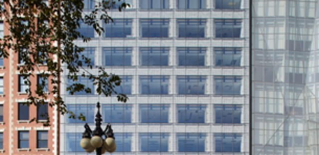 Design firm Gensler used a pixelated bird pattern frit on the facade of 618 S. Michigan Ave.