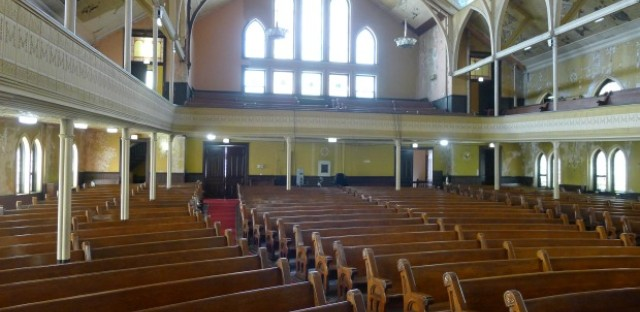 A view from the pulpit at the 120-year old Quinn Chapel AME on South Wabash Avenue. Dr. Martin Luther King, Jr. often visited the church to see pastor Archibald Carey, Jr.