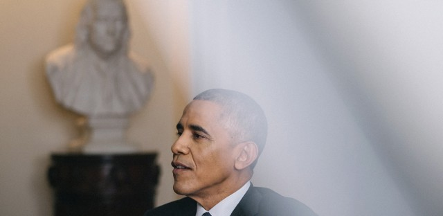 "NPR's Steve Inskeep interviews President Obama in the Cabinet Room of the White House on Dec. 15. The president said Democrats have ""ceded too much territory"" to Republicans in local races."