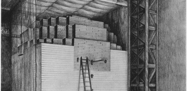 An artist's rendering of Chicago Pile 1.