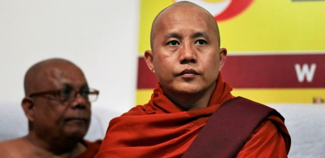 Myanmar's radical Buddhist monk Ashin Wirathu attends a media briefing in Colombo, Sri Lanka, Tuesday, Sept. 30, 2014.