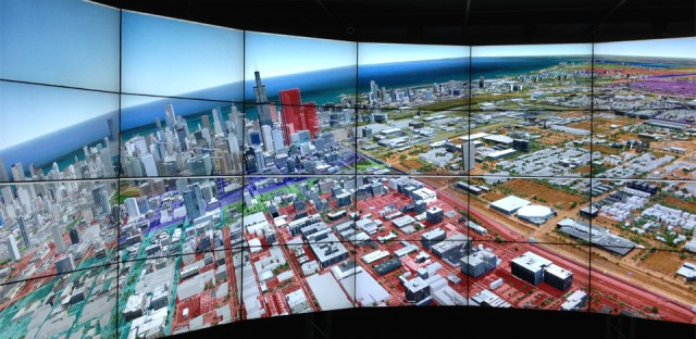 Google Earth is shown in EVL's CAVE2™ Hybrid Reality Environment. CAVE2 is a trademark of the University of Illinois Board of Trustees.