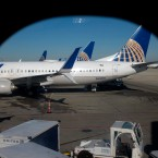 United Airlines planes are parked at a terminal at O'Hare International Airport in Chicago on Nov. 22, 2017.