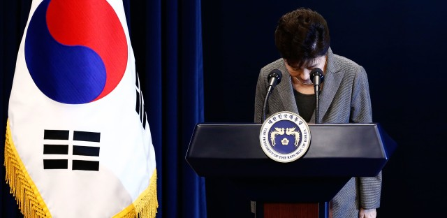 South Korean President Park Geun-Hye bows during an address to the nation, at the presidential Blue House in Seoul last month. Park said she is willing to stand down early and would let parliament decide on her fate.