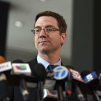 """City of Chicago's Corporation Counsel, Ed Siskel, listens to a question during a news conference at the Dirksen Federal Courthouse, Monday, Aug. 7, 2017, in Chicago. Chicago has filed a federal lawsuit challenging a Trump administration immigration stance. The 46-page lawsuit filed Monday says that """"neither federal law nor the United States Constitution permits the Attorney General to force Chicago to abandon ... critical local policy"""" on immigrants. (AP Photo/G-Jun Yam)"""