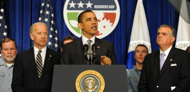 Vice President Joe Biden, President Obama and Secretary of Transportation Ray LaHood deliver remarks highlighting the transportation projects and infrastructure jobs created by Obama's economic stimulus plan in 2009.