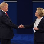 Hillary Clinton and Donald Trump shake hands at the end of the second presidential debate at Washington University in St. Louis, Mo., on Sunday.