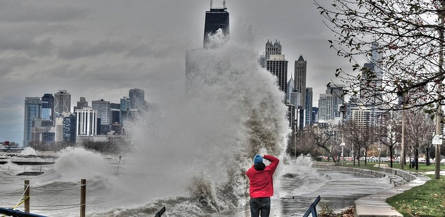 Waves photographed in Chicago caused by Superstorm Sandy