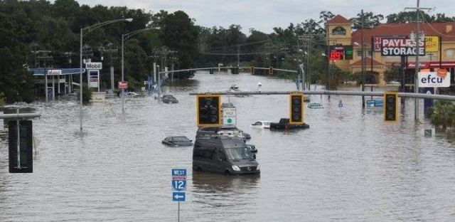 Flooding can be seen on O'Neal Lane, looking north from I-12 in Baton Rouge, La.