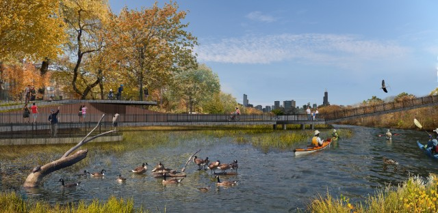 A rendering of what a wetland park near Goose Island might look like. The project is part of the Great Rivers Chicago plan.