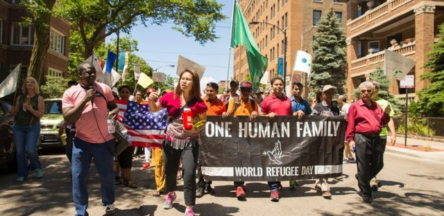 Photo from a World Refugee Day Chicago march