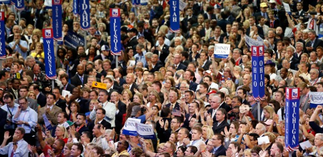 Delegates cheer as Republican vice presidential nominee Rep. Paul Ryan walks to the podium to address the Republican National Convention in Tampa on Wednesday.