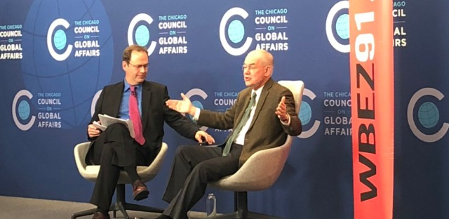 John Mearsheimer with Jerome McDonnell before a live audience at the Chicago Council on Global Affairs