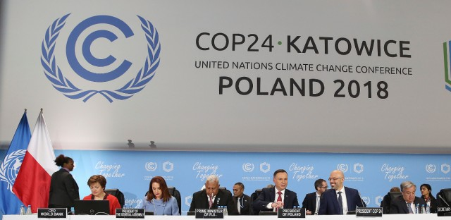 World Bank CEO Kristalina Georgieva, the President of the UN General Assembly Maria Fernanda Espinosa Garces, Prime Minister of Fiji and COP 23 President Frank Bainimarama, Andrzej Duda, President of Poland, Michal Kurtyka, President of the COP24, and UN Secretary General Antonio Guterres, from left, gather for the opening of the Climate Change Conference COP24 in Katowice, Poland, Monday, Dec. 3, 2018.