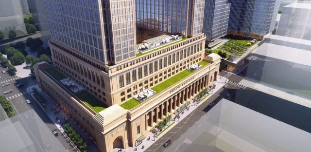 This artist rendering shows an aerial view of the proposed changes to Union Station. Officials have chosen real estate firm Riverside Investment & Development to run a $1 billion overhaul of the iconic building.