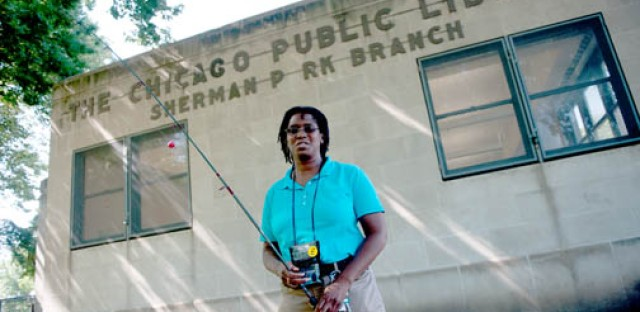 Nine of the 79 Chicago Public Library branches offer fishing poles for check-out.
