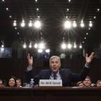 Supreme Court nominee Neil Gorsuch gestures as he speaks during his confirmation hearing before the Senate Judiciary Committee.
