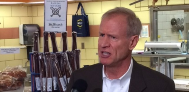 Governor Bruce Rauner at Paulina Meat Market.