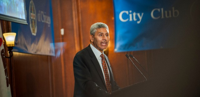 City Colleges Chancellor Juan Salgado speaks at City Club of Chicago on Thursday, June 21, 2018.