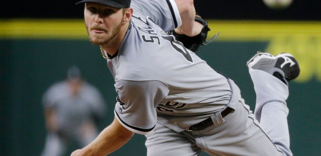 """In this Monday, July 18, 2016, file photo, Chicago White Sox starting pitcher Chris Sale throws to a Seattle Mariners batter during a baseball game in Seattle. Sale has been scratched from his start against the Detroit Tigers after he was involved in what the team says was a """"non-physical clubhouse incident."""""""