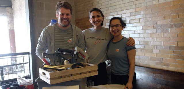 Cam Moore, Tessa Vierk and Erika Harris at a tool drive for the Chicago Tool Library, the city's first public tool lending library Vierk co-founded with Jim Benton. They plan to open its doors by July at the Chicago Sustainable Manufacturing Center.