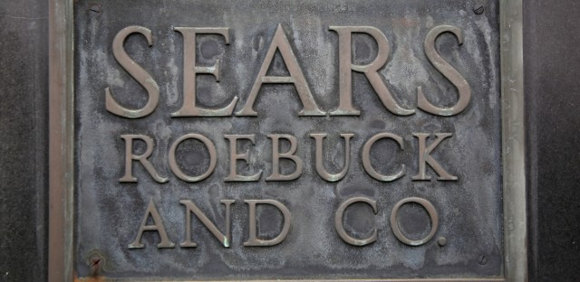 A sign is displayed on a Sears store in Hackensack, N.J.,
