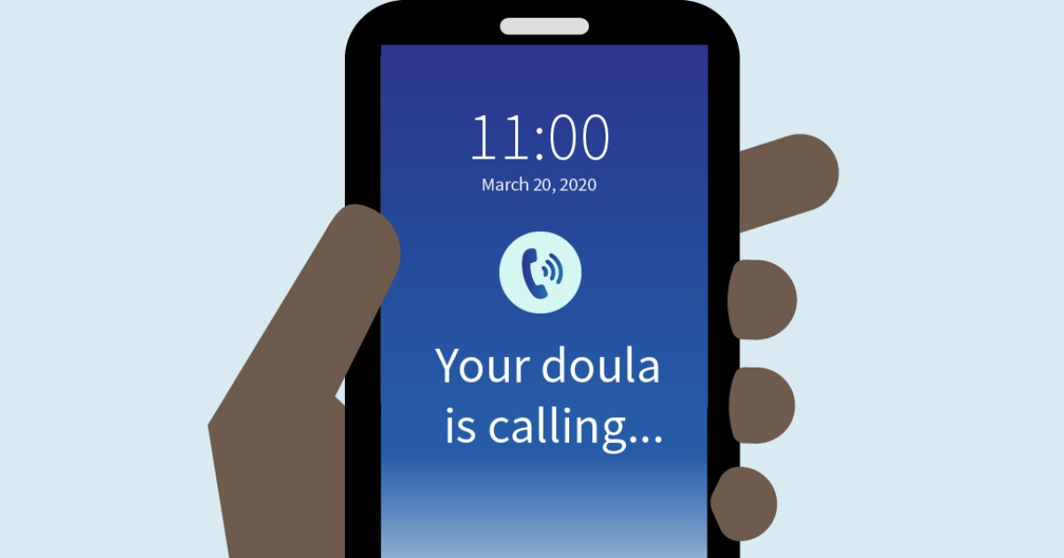 An illustration of a cell phone where the screen reads 'Your doula is calling...'