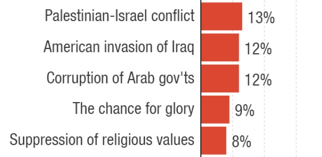 Respondents could select up to three factors they believe are motivating other young people to join ISIS. The reasons have been abbreviated; enlarge to see original text.