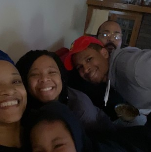 Lettie Sullivan, her husband Corey Sullivan and their children, Jarell, Maia and Imani at their home in Oak Park. The Sullivans are one of many multi-generational families isolating together to prevent the spread of Coronavirus.