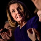 House Democratic leader Nancy Pelosi celebrates at a midterm election night party hosted by the Democratic Congressional Campaign Committee on Tuesday.