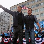 Former President Obama and Bruce Springsteen, campaigning together in Madison, Wisc. in November 2012, a day before the presidential election.