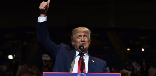 President-elect Donald Trump speaks at the Crown Coliseum in Fayetteville, N.C., on Tuesday, during his USA Thank You Tour.