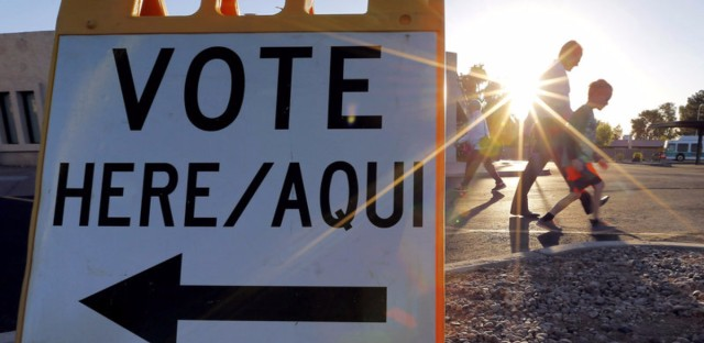 A polling station at sunrise in Phoenix as voting begins in Arizona's presidential primary election.