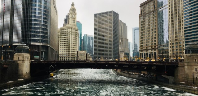 Ice was breaking up and drifting on the Chicago River on Monday, Feb. 4, as temperatures climbed to 50 degrees only days after subzero cold.