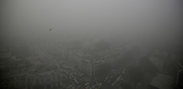 A thick layer of smog covers Connaught Place, the heart of New Delhi, India, in November. According to one advocacy group, government data showed that the smog that enveloped New Delhi in November was the worst in the last 17 years.