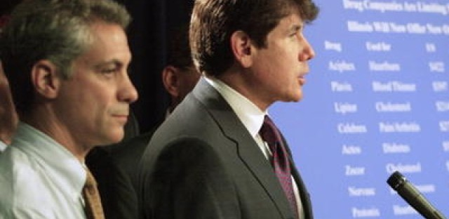 Then-U.S. Rep. Emanuel with then-Gov. Blagojevich at a press conference about prescription drugs in Aug. 2004.
