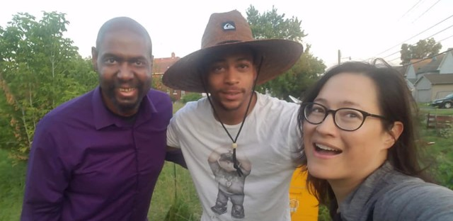 Worldview producer Steve Bynum (left), urban farmer Eric Andrews and Worldview contributor Monica Eng