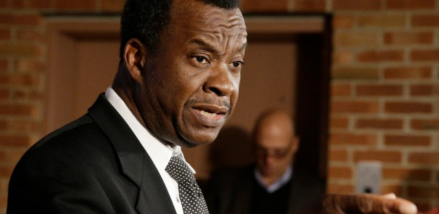 Businessman Willie Wilson, candidate for the office of Mayor of Chicago, points as he speaks at a news conference after a televised debate at WTTW in Chicago, Wednesday, Feb. 4, 2015.