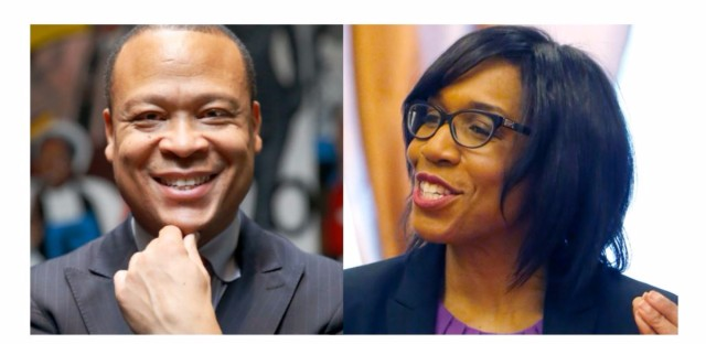 FILE (left) In this Feb. 12, 2016 file photo, Democratic state Rep. Ken Dunkin poses for a portrait at a community center in Chicago. Dunkin faces Juliana Stratton in the March 15, 2016, Democratic primary. FILE (right) In this Feb. 12, 2016 file photo, Democrat Juliana Stratton talks to residents at an apartment complex in Chicago. Stratton faces incumbent state Rep. Ken Dunkin in Illinois' Democratic primary March 15, 2016.