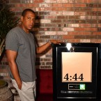 Shawn Carter, aka Jay-Z, left, with Recording Industry Association of America chairman and CEO Cary Sherman, accepting a platinum certification plaque for 4:44.