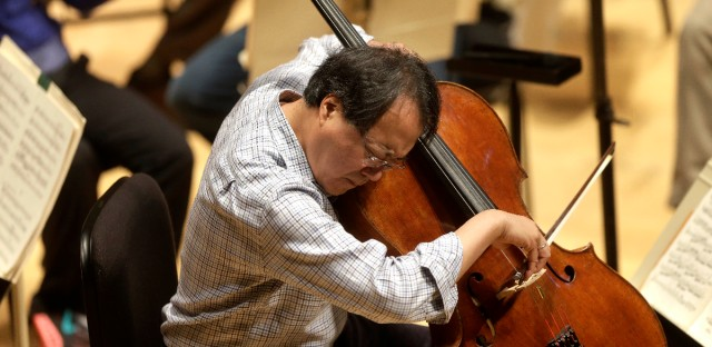 In this Nov. 20, 2014 file photo, cellist Yo-Yo Ma rehearses Prokofiev's Symphony Concerto for cello and orchestra at Symphony Hall in Boston. The World-famous cellist performed a special concert for the California children who authorities said were starved and shackled to their beds by their parents. Corona Mayor Karen Spiegel says Ma performed Friday, March 2, 2018 at the Corona Regional Medical Center.