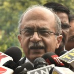Senior lawyer Prashant Bhushan addresses the media about the right to privacy judgment at the Supreme Court on Thursday in New Delhi.