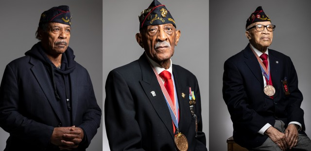 Portraits of three members of the Montford Point Marines Association in uniform